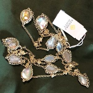 KENDRA SCOTT Gwenyth Long Gold Necklace $158 NEW